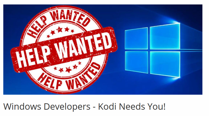 Windows Developers - Kodi Needs You